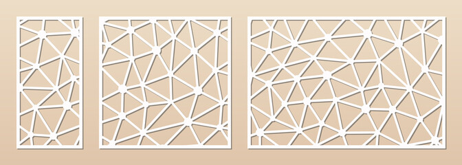 Laser cut panel. Cutout silhouette with abstract geometric pattern with lines, polygonal grid. Decorative template for wood, metal cutting, engraving, fretwork, carving. Aspect ratio 1:2, 1:1, 3:2