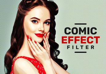 Vintage Retro Comic Effect Filter Mockup