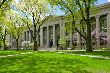 Harvard Law School building and college campus in early spring. Fotobehang