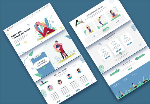 Website Ui Layout with Yoga-Themed Illustrations