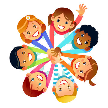 Kids friends from around the world around their hands. Multinational friendship of children of friends of the world. Cartoon Stock vector illustration isolated on white background