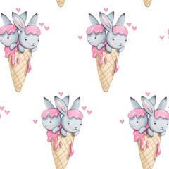 Cute pink watercolor seamless pattern. Beautiful wallpaper with fantasy bunneis cartoon animals with sweet ice cream on white background. Hand drawn vintage texture. For textile, print.