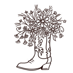 Cowboy boot with Flowers isolated on a white background. Sketch hand drawn vector close-up color illustration for design. Cutting file