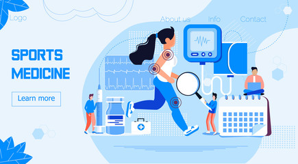 Athlete runs or jogs and tiny physicians treat and research injuries. Sports medicine vector concept for landing page. Sports medical services, doping control