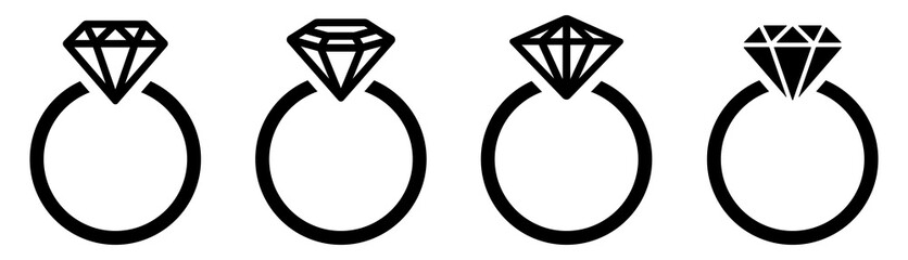Diamond ring. Engagement ring. Vector