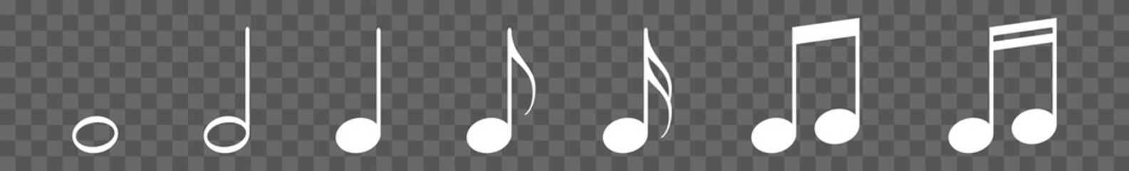 Music Notes Icon White   Note Illustration   Tone Symbol   Sound Logo   Musical Sign   Isolated   Variations