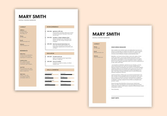 Resume Layout with Cream Elements
