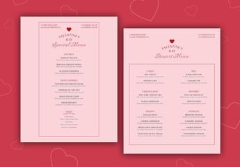 Valentine'S Day Menu Layout