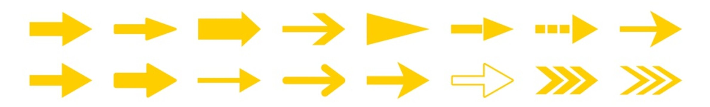 Arrow Icon Yellow | Arrows | Infographic Illustration | Direction Symbol | Pointer Logo | Up Sign | Isolated | Variations