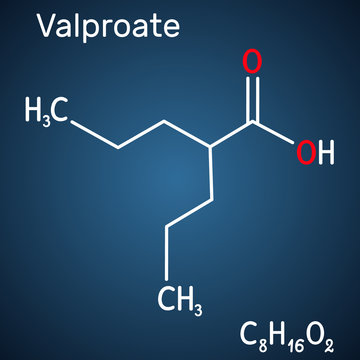 Valproate, VPA, valproic acid molecule. It is anticonvulsant and antiepileptic drug. Structural chemical formula on the dark blue background