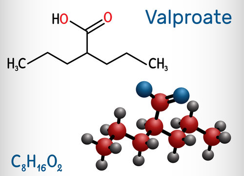 Valproate, VPA, valproic acid molecule. It is anticonvulsant and antiepileptic drug. Structural chemical formula and molecule model