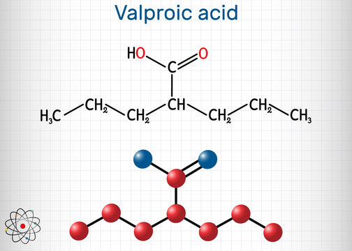 Valproate, VPA, valproic acid molecule. It is anticonvulsant and antiepileptic drug. Structural chemical formula and molecule model. Sheet of paper in a cage