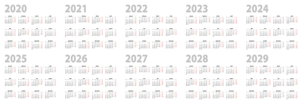Calendar set in basic design for 2020, 2021, 2022, 2023, 2024, 2025, 2026, 2027, 2028, 2029 years. Week starts on Monday.