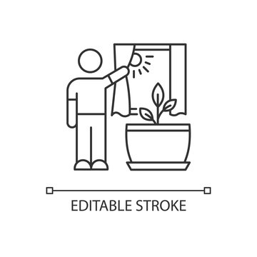 Providing sunlight for plant pixel perfect linear icon. Exposing domestic plants to natural light. Thin line customizable illustration. Contour symbol. Vector isolated outline drawing. Editable stroke