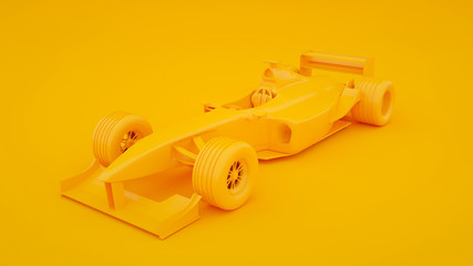 Formula one racing car isolated on yellow background. 3d rendering