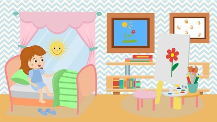 Girl at home in childrens room vector illustration. Cozy room with happy baby waking up on sunny morning. Furniture table, chair. Books, pictures, paints, brushes and pencils in bedroom interior.