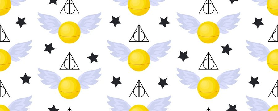 Golden snitch seamless pattern. deathly hallows. The world of magic. Magical items..