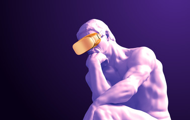 Sculpture Thinker With Golden VR Glasses On Purple Background Fototapete