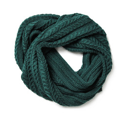 Dark green knitted scarf isolated white, top view