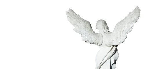 Fototapete - Ancient statue af angel isolated on white background as symbol of pain, fear and end of life.