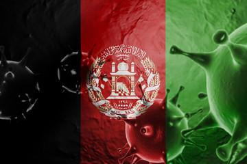 3D ILLUSTRATION VIRUS WITH Afghanistan FLAG, CORONAVIRUS, Flu coronavirus floating, micro view, pandemic virus infection, asian flu.