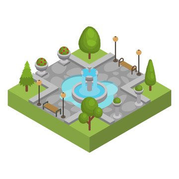 Square with fountain in city park vector isolated isometric illustration. Outdoor resting place area with water fountain in center. Trees, grass, flower beds, benches, lanterns. Nobody.