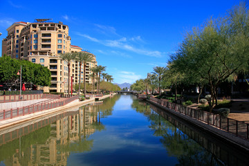 Apartments along the Arizona Canal in Scottsdale AZ