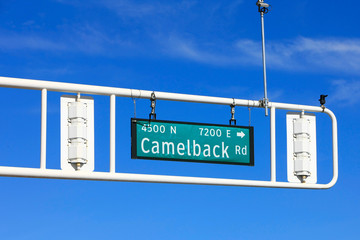 Camelback Road overhead gantry sign in downtown Old Town Scottsdale AZ