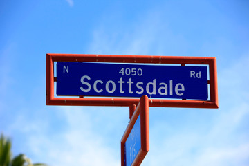 Blue sign in a red frame - N Scottsdale Road, Scottsdale, Arizona