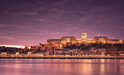 Famous Royal Palace with river Danube in Budapest, Hungary