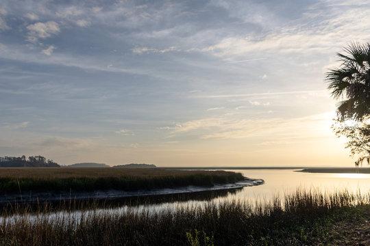 A beautiful landscape background of the lowcountry salt marsh near Sapelo Island, coastal Georgia, USA, home to an important marine estuary research centre.