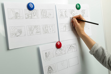 Design drawings of storyboards for animated cartoons.