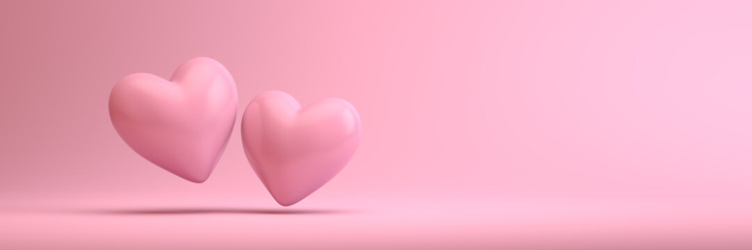 Two 3d hearts on a clean pink background template