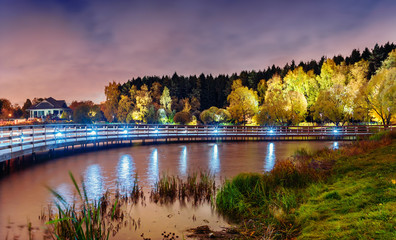 Moscow. October 06, 2019. Beautiful night landscape with a view of the Meshchersky pond, park and forest