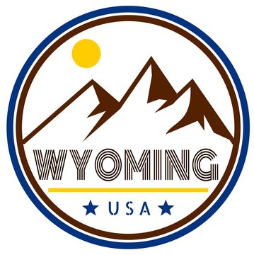 Retro Wyoming badge with mountains and sunshine