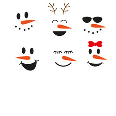 cute funny snowman face set vector illustration