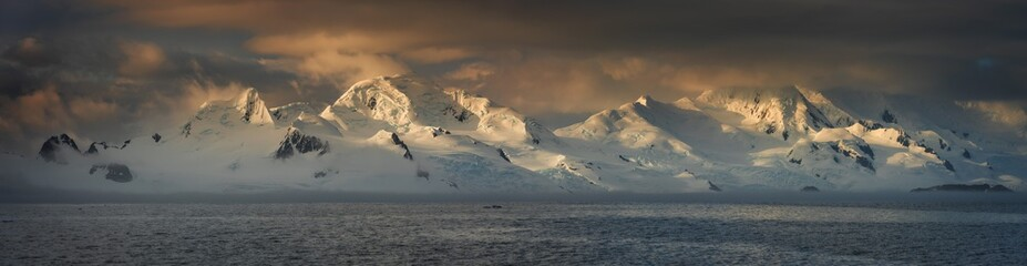 panorama of sunset in Antarctic mountains