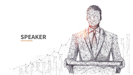 Young businessman in a classic suit. An equipped place for the speaker. Business conference and business meeting concept. Isolated low poly wireframe digital vector illustration on white background.