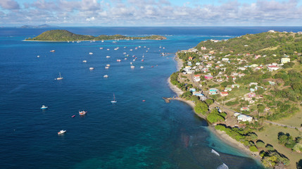 Caribbean islands aerial views, Petite Martinique island, St. Vincent and Grenadines islands.
