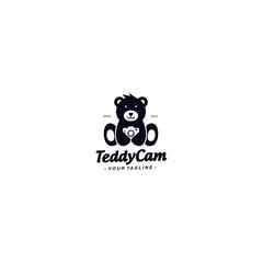 Teddy Bear with Camera logo design template
