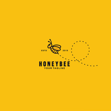 Cute Honey Bee logo design template with background and shadow