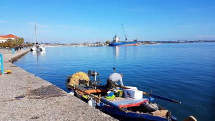 preveza city port greece in winter sunny day