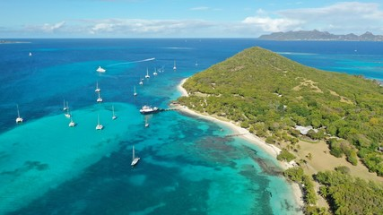 Caribbean islands and beaches aerial view, St. Vincent & Grenadines, Caribbean