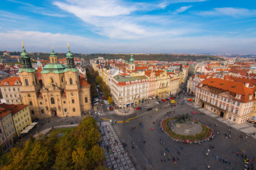 Printed roller blinds Prague Elevated View of the Old Town Square in Prague With St. Nicholas Church