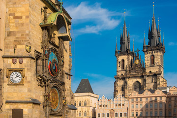 Astronomical Clock and the Church of Our Lady Before Tyn in the Old Town of Prague, Czechia