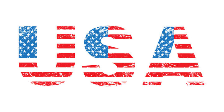 USA flag grunge text, American flag in letters, isolated on white background, vector illustration.