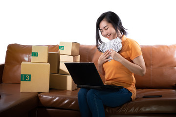 Portrait young woman holding 100 US dollars banknotes lots are sitting on the sofa at her room at white background, Women can make money from selling concept, Sell goods for profit