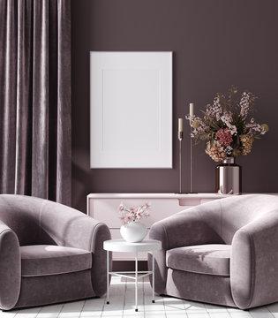 Mockup poster in dark violet monochrome modern living room interior background, 3D render