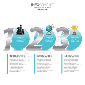 Infographic template design with 3 steps.