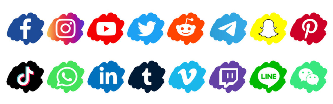 Facebook, twitter, instagram, youtube, reddit,telegram,snapchat, pinterest, tiktok logo.. Facebook, twitter, instagram, youtube, reddit,telegram,snapchat, pinterest, tiktok  icon